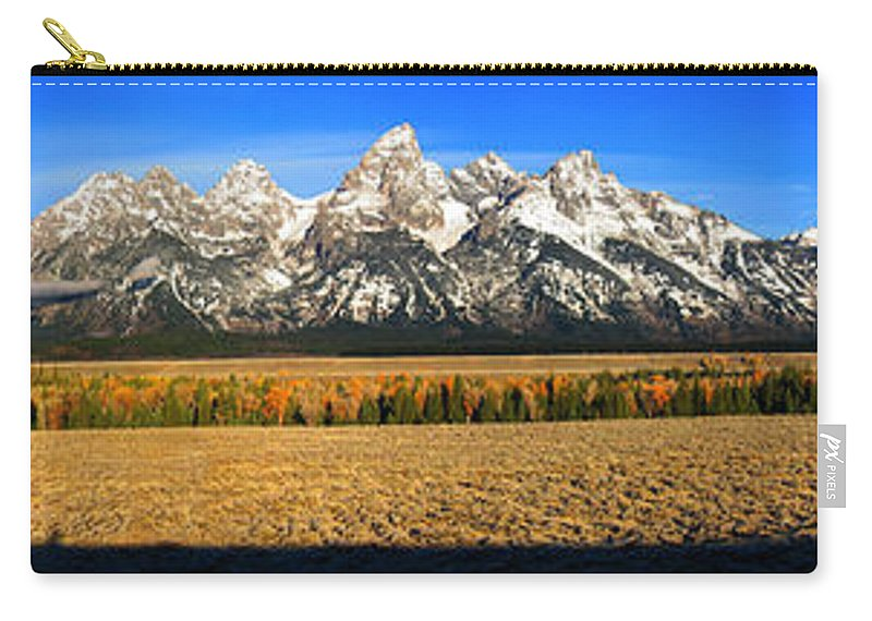 Tetons Carry-all Pouch featuring the photograph Tetons Panorama by Robert Woodward