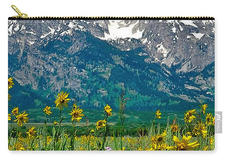 Tetons Peaks And Flowers Carry-all Pouch featuring the photograph Tetons Peaks And Flowers Center Panel by Greg Norrell