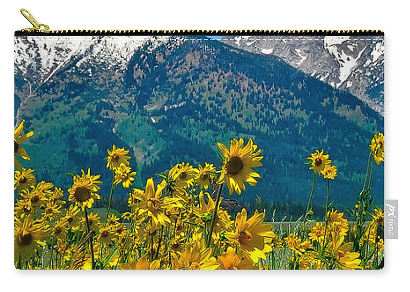 Tetons Peaks And Flowers Carry-all Pouch featuring the photograph Tetons Peaks And Flowers Left Panel by Greg Norrell