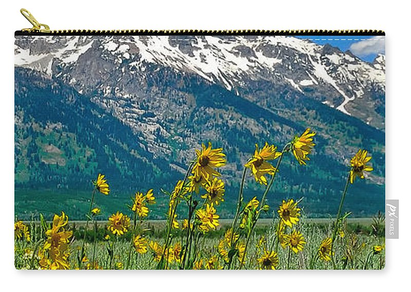 Tetons Peaks And Flowers Carry-all Pouch featuring the photograph Tetons Peaks And Flowers Right Panel by Greg Norrell