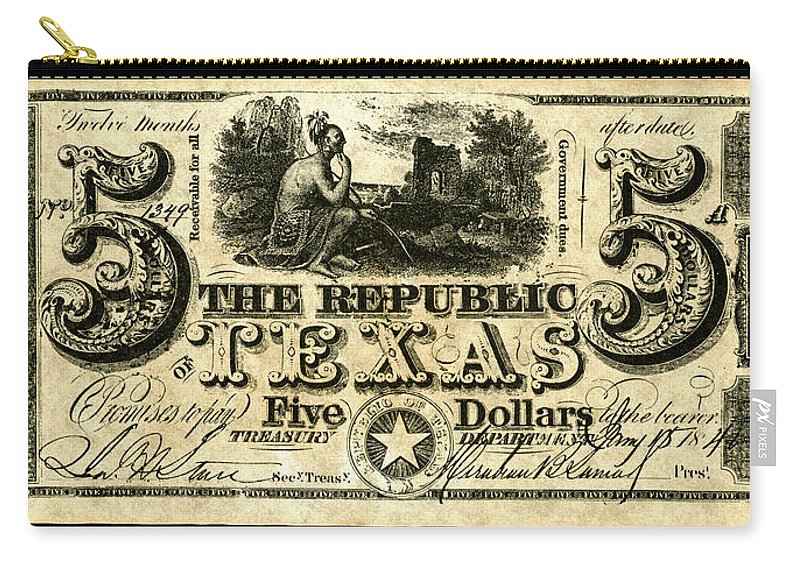 1840 Carry-all Pouch featuring the painting Texas Banknote, 1840 by Granger