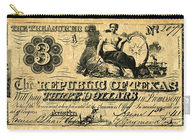 1841 Carry-all Pouch featuring the painting Texas Banknote, 1841 by Granger