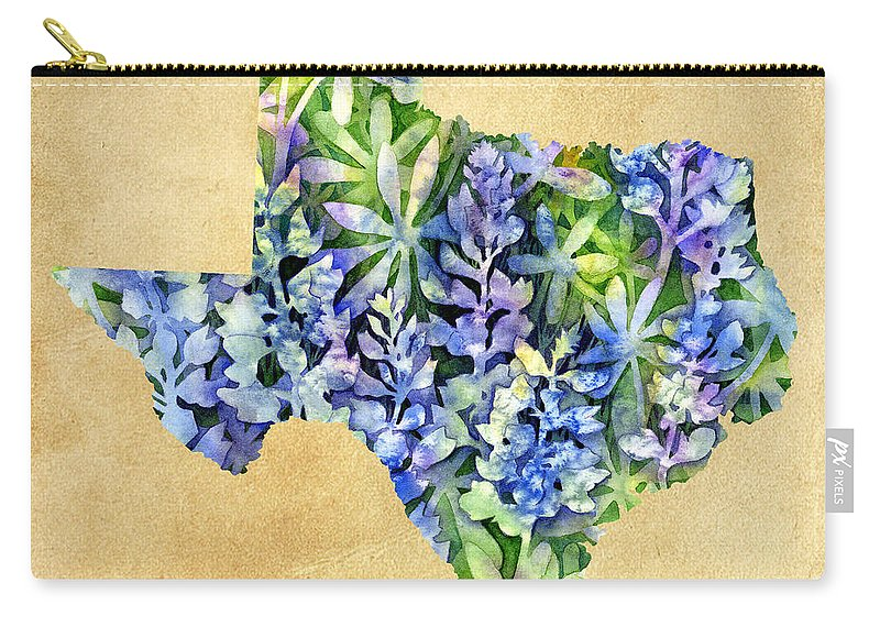 Texas Carry-all Pouch featuring the painting Texas Blues Texas Map by Hailey E Herrera