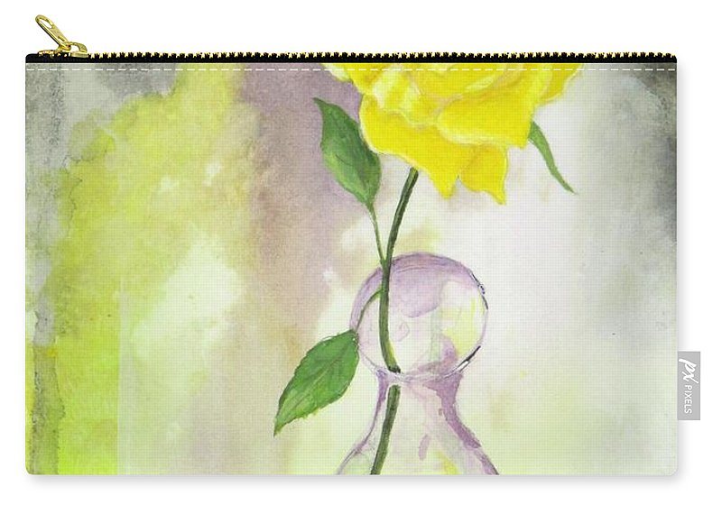 One Yellow Rose Carry-all Pouch featuring the painting Texas Rose by Michael Dillon