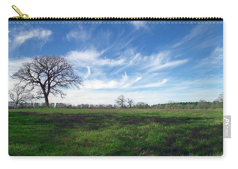 Wispy Clouds In The Texas Sky Huntsville Tx Texas Tree Trees Fine Art Carry-all Pouch featuring the photograph Texas Sky by Brian Harig
