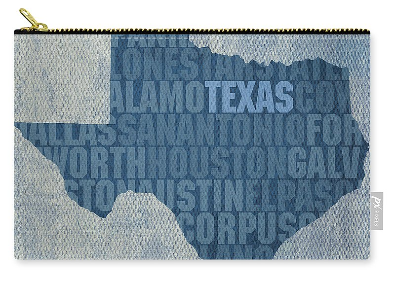 Texas Word Art State Map On Canvas Dallas San Antonio Houston Galveston Austin El Paso Fort Worth Texan Lone Star Usa America Alamo Carry-all Pouch featuring the mixed media Texas Word Art State Map on Canvas by Design Turnpike