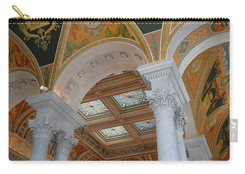 Interior Carry-all Pouch featuring the photograph Great Hall Of The Library Of Congress by Allen Beatty