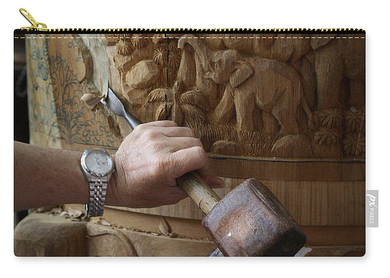 Asia Carry-all Pouch featuring the photograph Thai Woodworker by Inge Johnsson