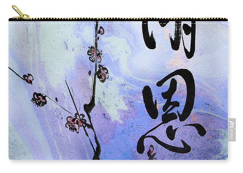 Zen Carry-all Pouch featuring the mixed media Thank You Shaon Gratitude by Peter v Quenter