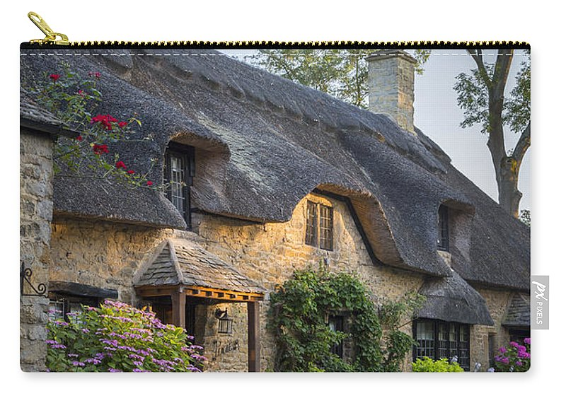 Brian Jannsen Carry-all Pouch featuring the photograph Thatched Roof - Cotswolds by Brian Jannsen