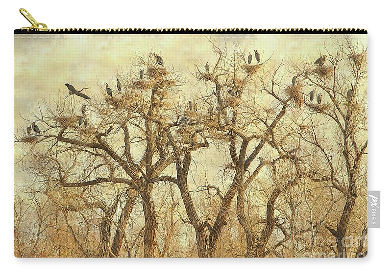 Blue Heron Carry-all Pouch featuring the photograph Thats A Lot Of Great Blue Heron by James BO Insogna