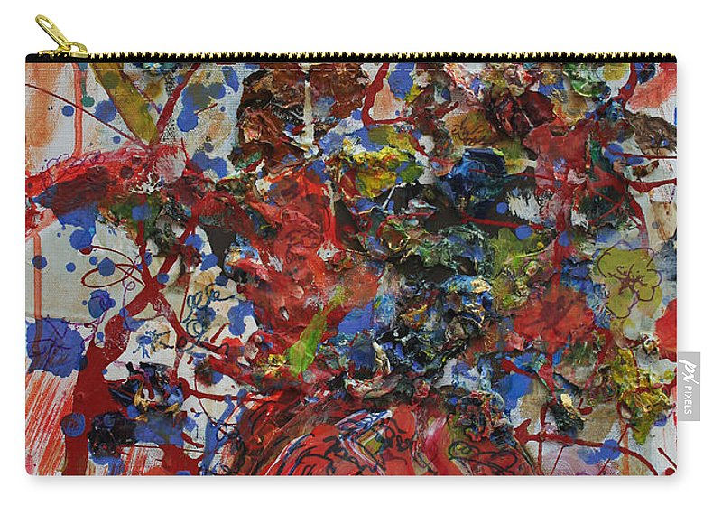 Abstract Flowers Carry-all Pouch featuring the painting The Acrylic Bouquet by Avonelle Kelsey