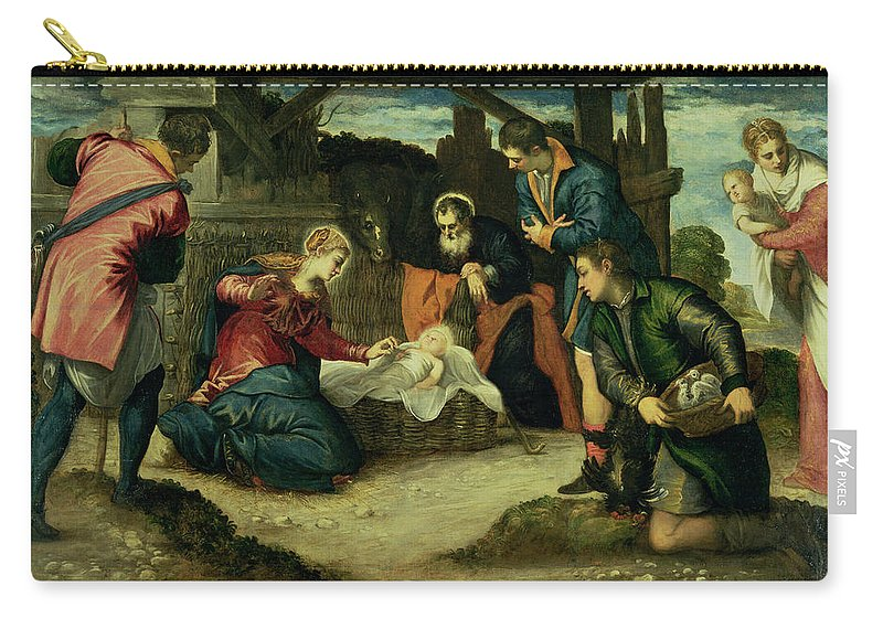Nativity Carry-all Pouch featuring the painting The Adoration Of The Shepherds, 1540s by Jacopo Robusti Tintoretto