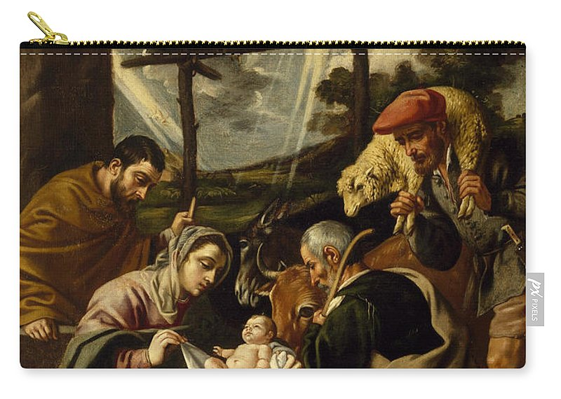 Pedro Orrente Carry-all Pouch featuring the painting The Adoration Of The Shepherds by Pedro Orrente