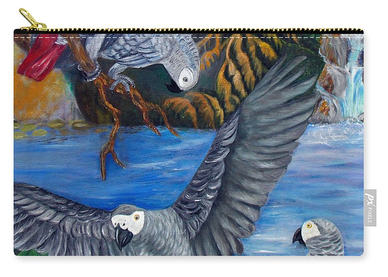 African Grey Parrots Carry-all Pouch featuring the painting The African Grey Parrots by To-Tam Gerwe