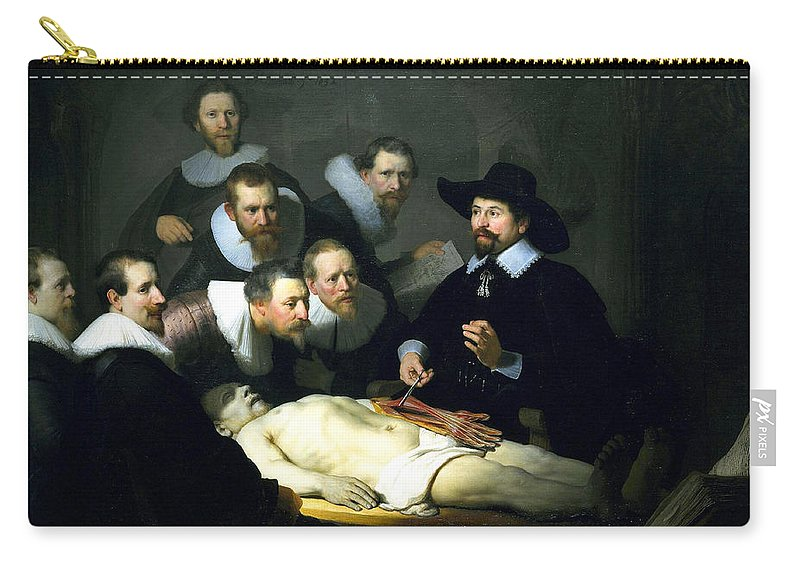 Rembrandt Carry-all Pouch featuring the digital art The Anatomy Lesson by Rembrandt