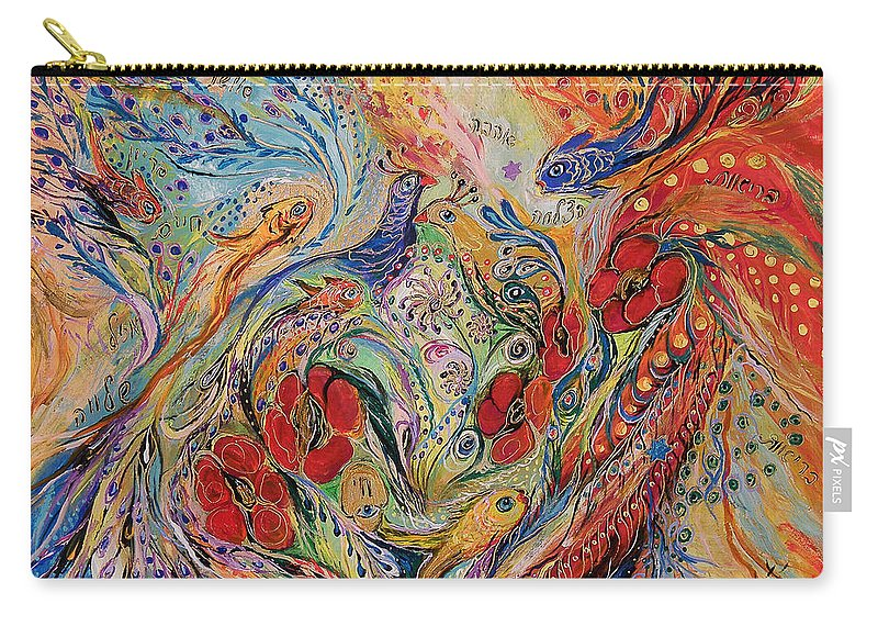 Original Carry-all Pouch featuring the painting The Anemon Flowers by Elena Kotliarker