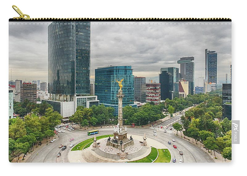 Mexico City Carry-all Pouch featuring the photograph The Angel Of Independence, Mexico City by Sergio Mendoza Hochmann