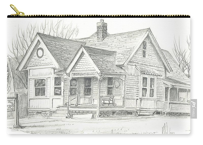 The Antique Shop Carry-all Pouch featuring the drawing The Antique Shop by Kip DeVore