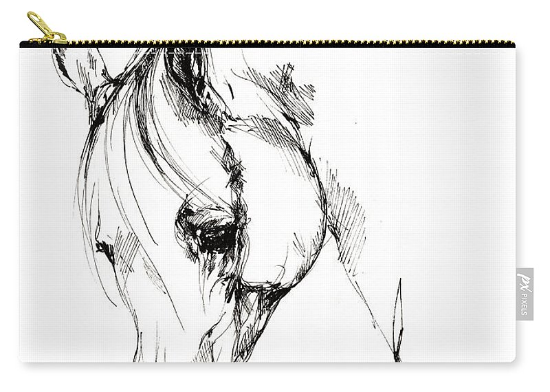 Horse Carry-all Pouch featuring the drawing The Arabian Horse Sketch by Angel Ciesniarska