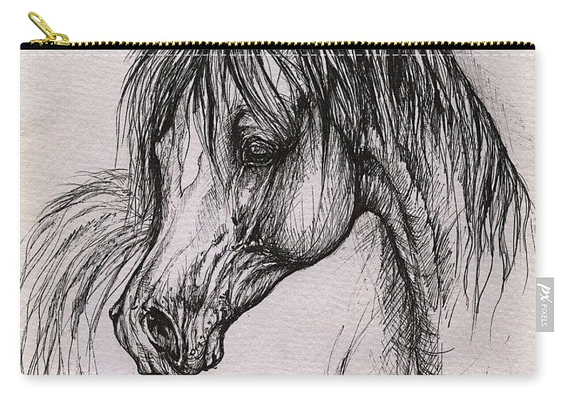 Arabian Horse Carry-all Pouch featuring the drawing The Arabian Horse With Thick Mane by Angel Tarantella