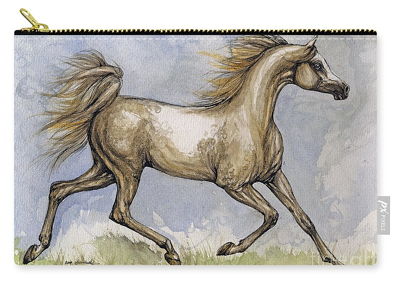 Mare Carry-all Pouch featuring the painting The Arabian Mare Running by Angel Tarantella
