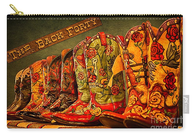 Cowgirl Boots Carry-all Pouch featuring the photograph The Back Forty Boots Are Made For Dancin' by Priscilla Burgers