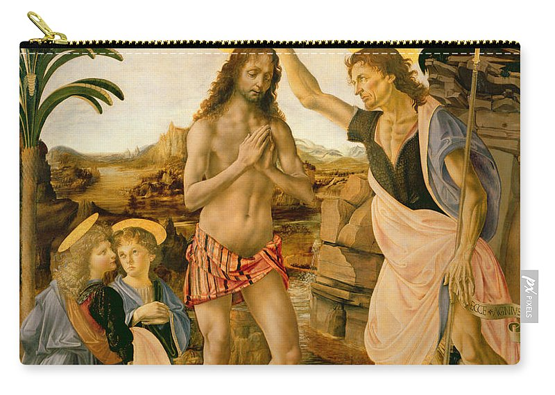 Son Of God Carry-all Pouch featuring the painting The Baptism Of Christ By John The Baptist by Leonardo da Vinci