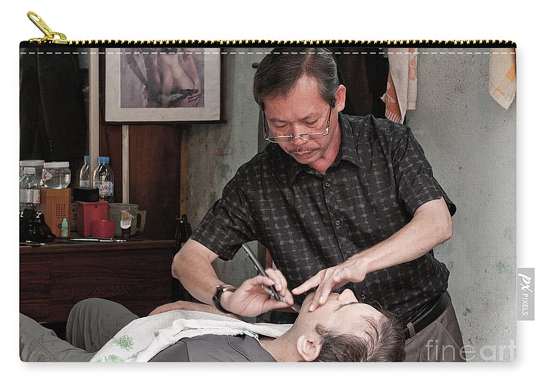 Vietnam Carry-all Pouch featuring the photograph The Barber Shaves Another Customer 02 by Rick Piper Photography