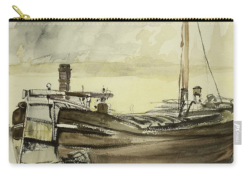 La Peniche; Boat; Ship; Fishing Vessel Carry-all Pouch featuring the painting The Barge by Edouard Manet