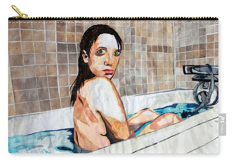 Bath Carry-all Pouch featuring the mixed media The Bath by Monique Sarfity