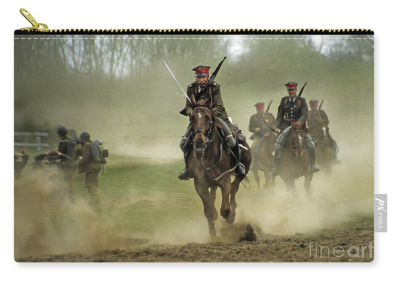 Cavalry Carry-all Pouch featuring the photograph The Battle by Angel Ciesniarska