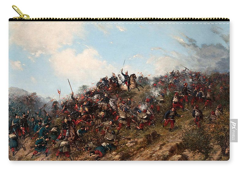 Francisco Oller Carry-all Pouch featuring the painting The Battle Of Trevino by Francisco Oller
