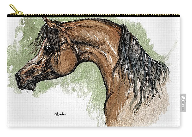 Horse Carry-all Pouch featuring the painting The Bay Arabian Horse 12 by Angel Tarantella
