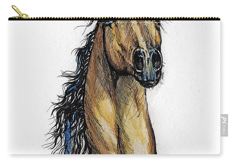 Arab Carry-all Pouch featuring the painting The Bay Arabian Horse 13 by Angel Ciesniarska