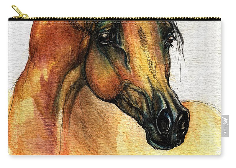 Watercolor Carry-all Pouch featuring the painting The Bay Arabian Horse 14 by Angel Ciesniarska