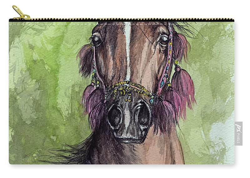 Horse Carry-all Pouch featuring the painting The Bay Arabian Horse 16 by Angel Tarantella