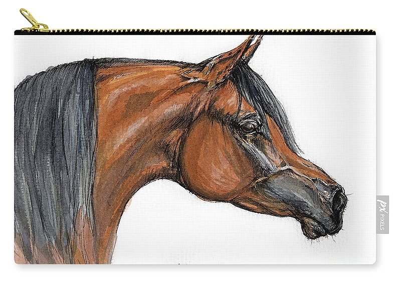 Arabian Carry-all Pouch featuring the painting The Bay Arabian Horse 18 by Angel Ciesniarska