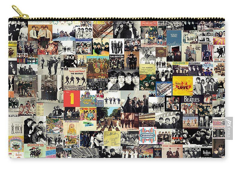 The Beatles Carry-all Pouch featuring the digital art The Beatles Collage by Zapista OU