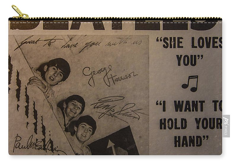 The Beatles Ed Sullivan Show Poster Carry-all Pouch featuring the photograph The Beatles Ed Sullivan Show Poster by Mitch Shindelbower