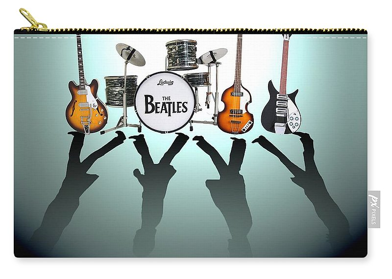 The Beatles Carry-all Pouch featuring the digital art The Beatles by Yelena Day