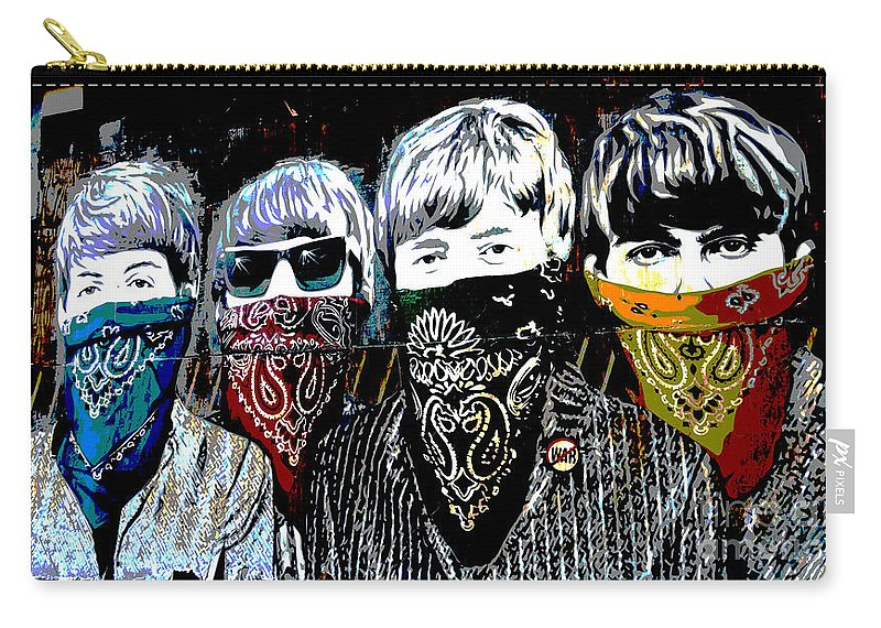 Banksy Carry-all Pouch featuring the photograph The Beatles wearing face masks by RicardMN Photography
