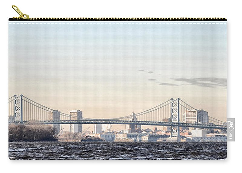 The Ben Franklin Bridge From Penn Treaty Park Carry-all Pouch featuring the photograph The Ben Franklin Bridge From Penn Treaty Park by Bill Cannon