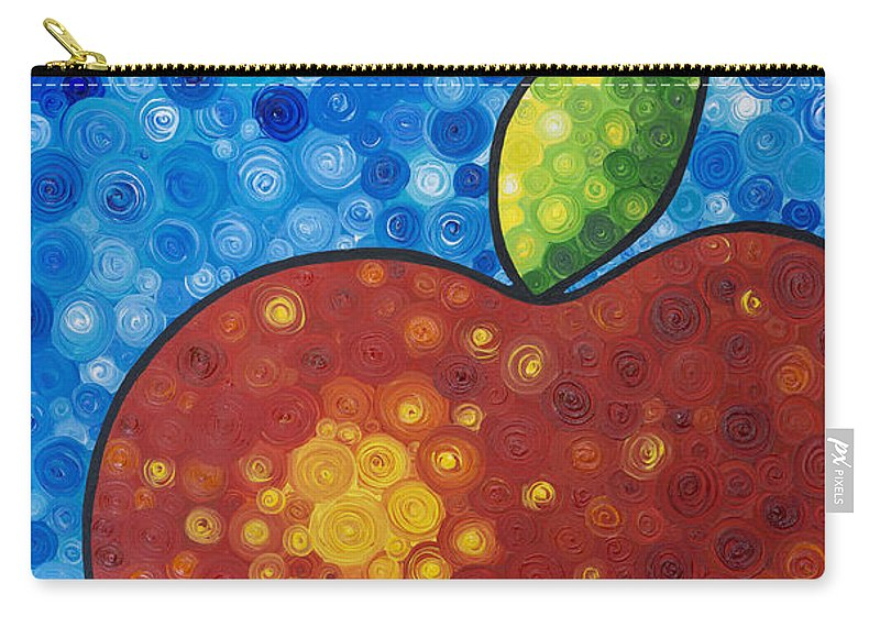 Food And Beverage Art Carry-all Pouch featuring the painting The Big Apple - Red Apple By Sharon Cummings by Sharon Cummings