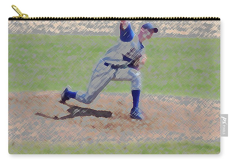 Sports Carry-all Pouch featuring the photograph The Big Baseball Pitch Digital Art by Thomas Woolworth