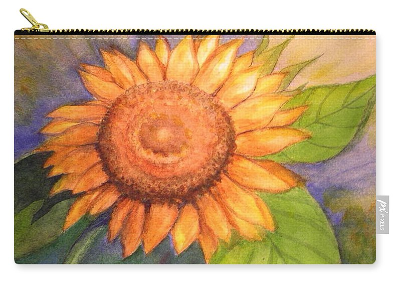 Sunflower Carry-all Pouch featuring the painting The Big Happy by Laura Nance