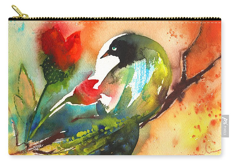 Animals Carry-all Pouch featuring the painting The Bird And The Flower 03 by Miki De Goodaboom