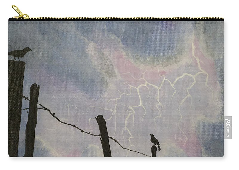 Barbwire Fence Carry-all Pouch featuring the painting The Birds - Watching The Show by Jack Malloch