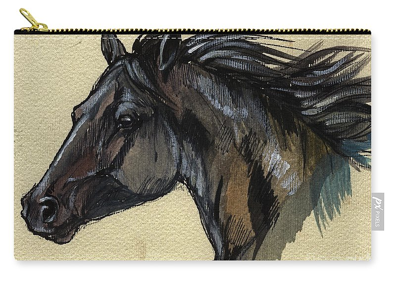 Horse Carry-all Pouch featuring the painting The Black Horse by Angel Ciesniarska
