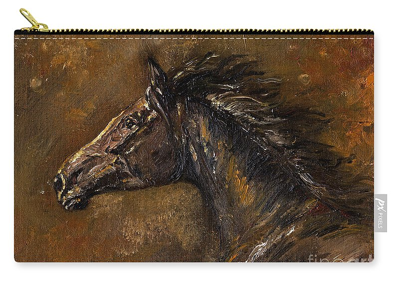 Horse Carry-all Pouch featuring the painting The Black Horse Oil Painting by Angel Ciesniarska